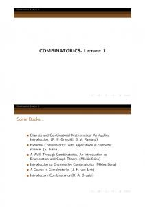 COMBINATORICS- Lecture: 1