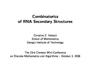 Combinatorics of RNA Secondary Structures