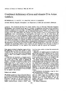Combined deficiency of iron and vitamin D in Asian toddlers