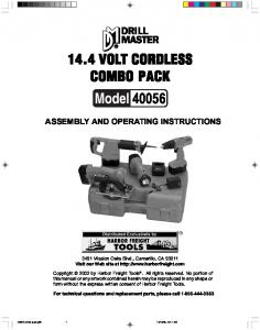 COMBO PACK ASSEMBLY AND OPERATING INSTRUCTIONS