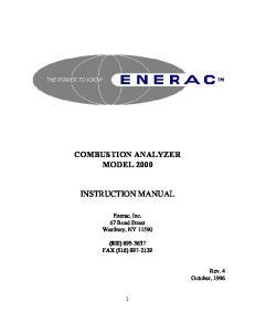 COMBUSTION ANALYZER MODEL 2000 INSTRUCTION MANUAL