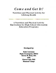 Come and Get It! Nutrition and Physical Activity for Lifelong Health