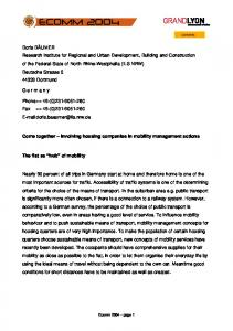 Come together Involving housing companies in mobility management actions