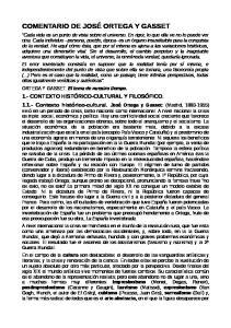 COMENTARIO DE JOSE ORTEGA Y GASSET