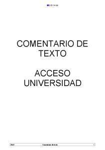 COMENTARIO DE TEXTO ACCESO UNIVERSIDAD. PAU Comentario de texto 1