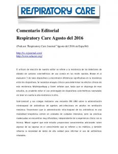 Comentario Editorial Respiratory Care Agosto del 2016