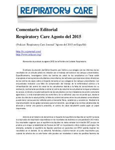 Comentario Editorial Respiratory Care Agosto del 2015