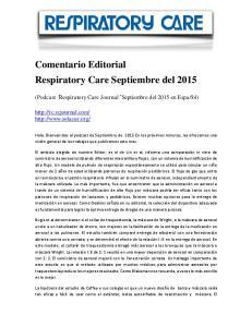 Comentario Editorial Respiratory Care Septiembre del 2015