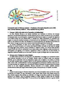 Comentario sobre el Informe conjunto Presidente y Secretaria Ejecutiva de la UISG Hna. Carmen Sammut, MSOLA Hna. Patricia Murray, IBVM