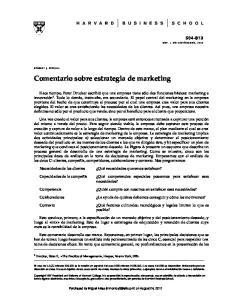 Comentario sobre estrategia de marketing