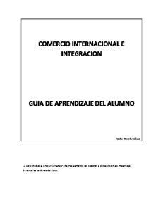 COMERCIO INTERNACIONAL E INTEGRACION GUIA DE APRENDIZAJE DEL ALUMNO