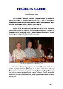 COMIDA EN MADRID. Cronista: Santiago de Ossorno