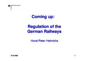 Coming up: Regulation of the German Railways