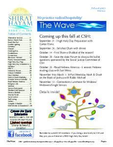 Coming up this fall at CSH: