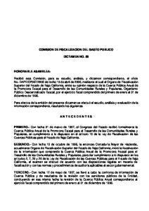 COMISION DE FISCALIZACION DEL GASTO PUBLICO DICTAMEN NO. 58