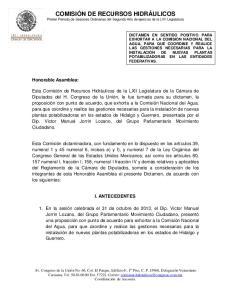 COMISIÓN DE RECURSOS HIDRÁULICOS Primer Periodo de Sesiones Ordinarias del Segundo Año de ejercicio de la LVII Legislatura