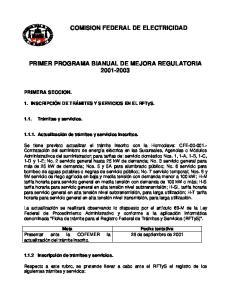 COMISION FEDERAL DE ELECTRICIDAD PRIMER PROGRAMA BIANUAL DE MEJORA REGULATORIA