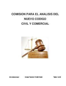 COMISION PARA EL ANALISIS DEL NUEVO CODIGO CIVIL Y COMERCIAL