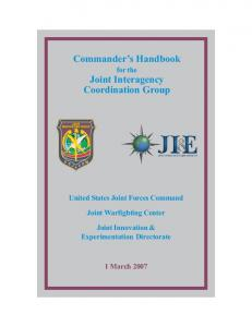 Commander s Handbook for the Joint Interagency Coordination Group