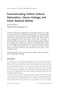Commemorating Tollens: Cultural Nationalism, Literary Heritage, and Dutch National Identity