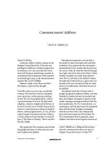 Commencement Address