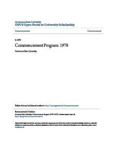 Commencement Program: 1978