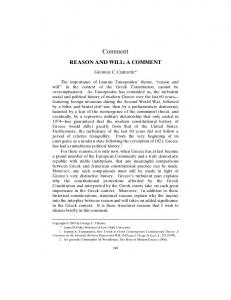 Comment REASON AND WILL: A COMMENT. The importance of Ioannis Tassopoulos theme, reason and will 1