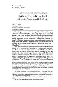 Comments and Questions on Evil and the Justice of God