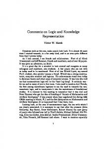 Comments on Logic and Knowledge Representation