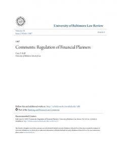 Comments: Regulation of Financial Planners