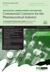 Commercial Contracts for the Pharmaceutical Industry