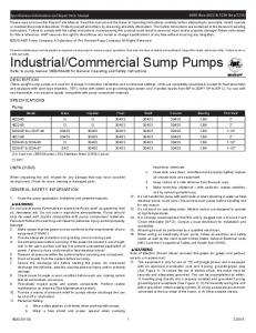 Commercial Sump Pumps Refer to pump manual for General Operating and Safety Instructions
