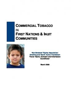 COMMERCIAL TOBACCO IN FIRST NATIONS & INUIT COMMUNITIES