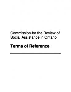 Commission for the Review of Social Assistance in Ontario. Terms of Reference