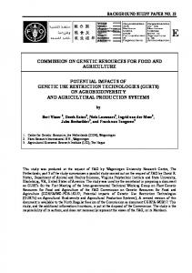 COMMISSION ON GENETIC RESOURCES FOR FOOD AND AGRICULTURE