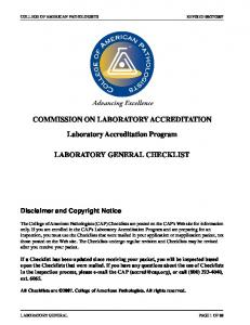 COMMISSION ON LABORATORY ACCREDITATION. Laboratory Accreditation Program LABORATORY GENERAL CHECKLIST