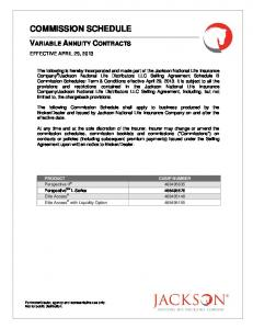 COMMISSION SCHEDULE VARIABLE ANNUITY CONTRACTS EFFECTIVE APRIL 29, 2013