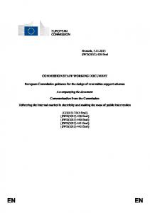 COMMISSION STAFF WORKING DOCUMENT. European Commission guidance for the design of renewables support schemes. Accompanying the document