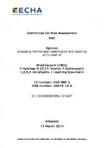 Committee for Risk Assessment RAC. Opinion proposing harmonised classification and labelling at EU level of