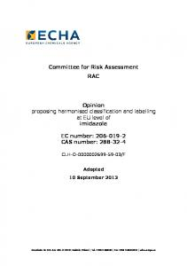 Committee for Risk Assessment RAC. Opinion proposing harmonised classification and labelling at EU level of imidazole