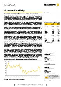Commodities Daily. Financial investors withdraw from many commodities. Commodity Research. 31 March 2014