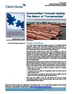 Commodities Forecast Update: The Return of Fundamentals