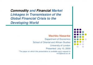 Commodity and Financial Market Linkages in Transmission of the Global Financial Crisis to the Developing World