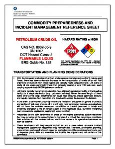 COMMODITY PREPAREDNESS AND INCIDENT MANAGEMENT REFERENCE SHEET
