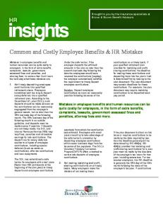 Common and Costly Employee Benefits & HR Mistakes
