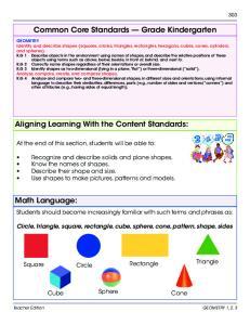 Common Core Standards Grade Kindergarten