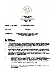 COMMON COUNCIL AGENDA REGULAR STATED MEETING APRIL 2, :30 P.M