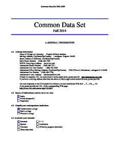 Common Data Set Fall 2014