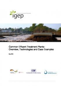 Common Effluent Treatment Plants: Overview, Technologies and Case Examples