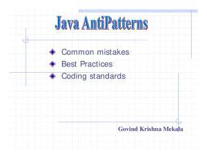 Common mistakes Best Practices Coding standards. Govind Krishna Mekala